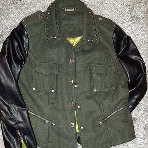 Army Green Jacket with faux leather sleeves